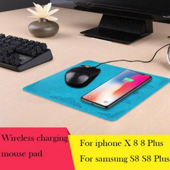 KEXU 2 in 1 Fast Wireless Charger Mouse Pad Mat for iPhoneX 8 8 Plus Note8 S8 S7