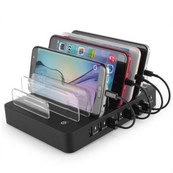 60W 12A 6 Port USB Charging Station Dock Fast USB Charger Hub Smartphone Tablet