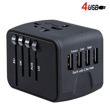 Universal Travel Charger Adapter 4 USB Ports Electrical Socket US UK EU AU Plug