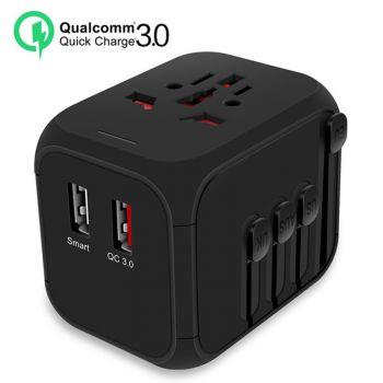 QC3.0 Travel Charger Adapter 2 Ports US UK EU AU Plug Socket