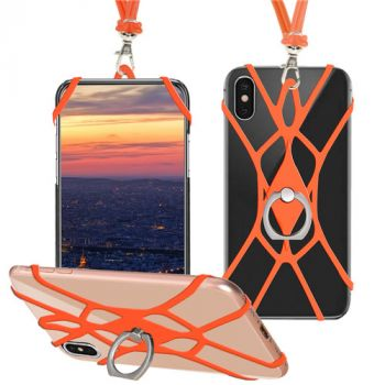 Cell Phone Neck Strap Silicone Lanyard With Finger Ring Holder