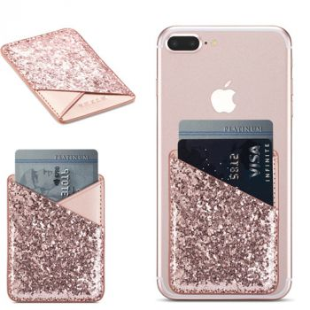 Luxury Bling Sequins Leather Card Holder Sticker Cellphone Pouch