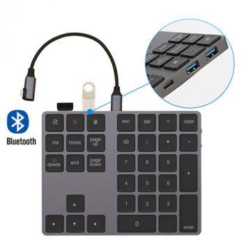 Aluminum Bluetooth Numeric Keypad USB HUB