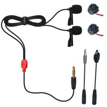 Comica CVM-D02 dual-head lavalier clip-on mini omnidirectional microphone