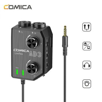 Comica LINKFLEX.AD3 microphone audio preamp/mixer 2-channels XLR real time monitor