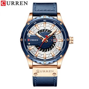 CURREN 8374 men waterproof calendar leather band quartz watch