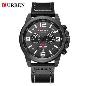 CURREN 8314 leather chronograph men quartz watch