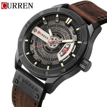 CURREN 8301 leather military sports date mens quartz watch