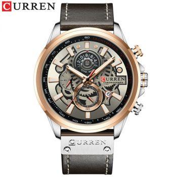 CURREN 8380 lether chronograph men quartz watch