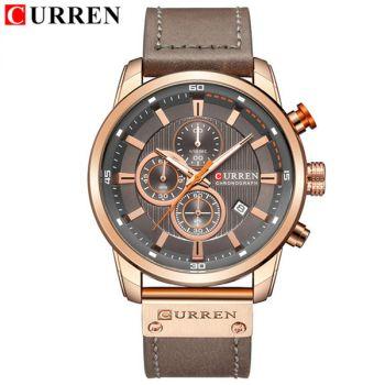 CURREN 8291 lether chronograph waterproof mens quartz watch