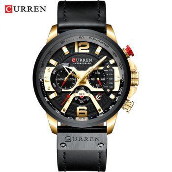 CURREN 8329 lether chronograph waterproof mens quartz watch