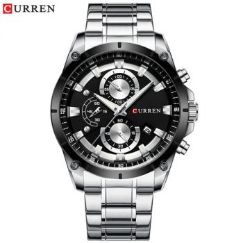 CURREN 8360 Stainless Steel Chronograph Waterproof Mens Quartz Watch