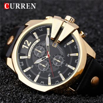 CURREN 8176 leather waterproof mens quartz watch
