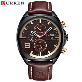 CURREN 8324 leather waterproof chronograph mens quartz watch