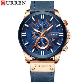 CURREN 8346 leather chronograph mens quartz watch