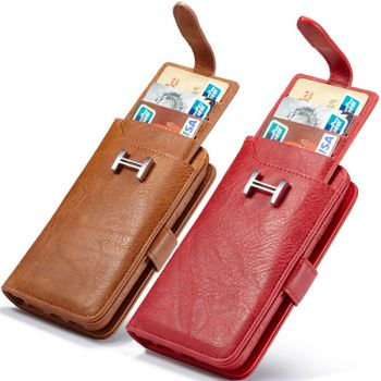 metal buckle leather wallet case pouch for iPhone 11pro max 8 7 6 plus