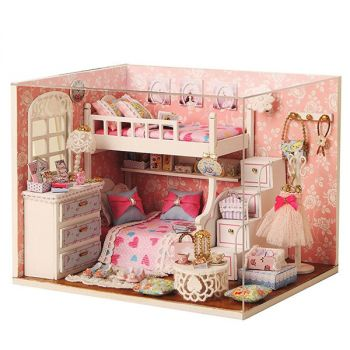 Doll Miniature Wooden House Studio Kit DIY Handcraft Toy