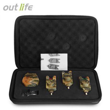 Outlife JY - 35 - 3 wireless camouflage fishing bite alarm set