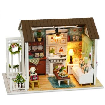 DIY Wooden House Furniture Handcraft Miniature Kit Holiday Time