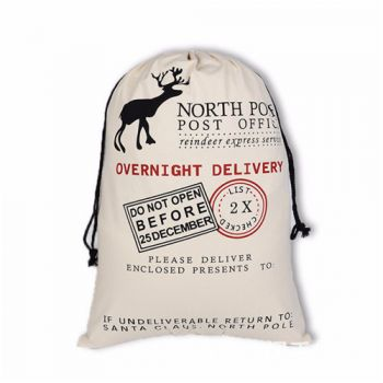 Christmas Gift Large Canvas Santa Drawstring Bag