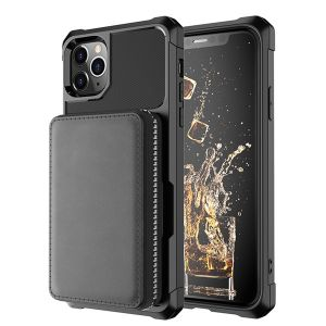 zipper cards wallet case for iPhone 12 11 pro max mini 8 7 6 plus C46