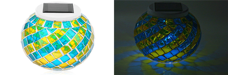 LED solar powered frosting glass ball light color changing decorative lamp
