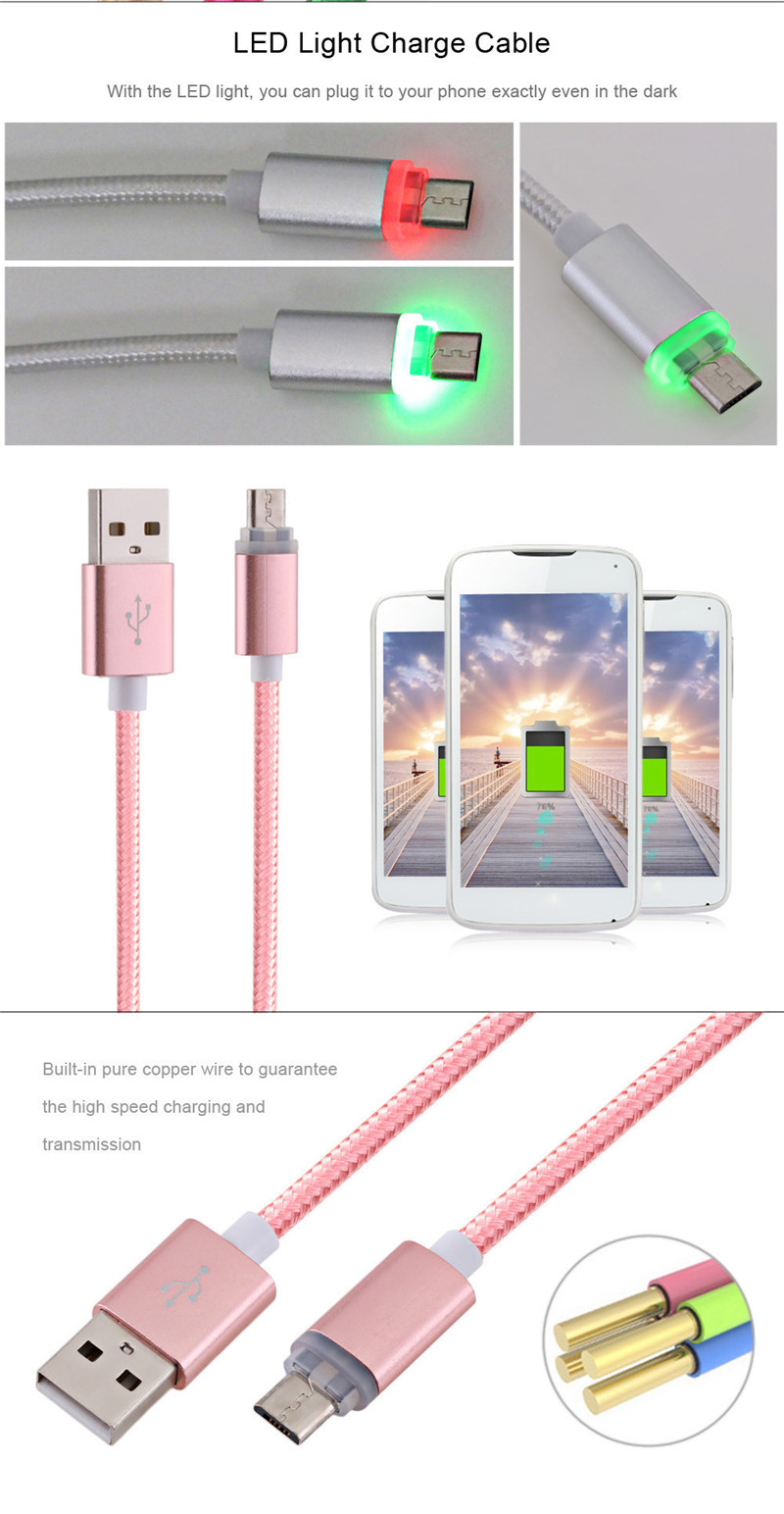 1M Nylon Braided LED Light Cable for Android