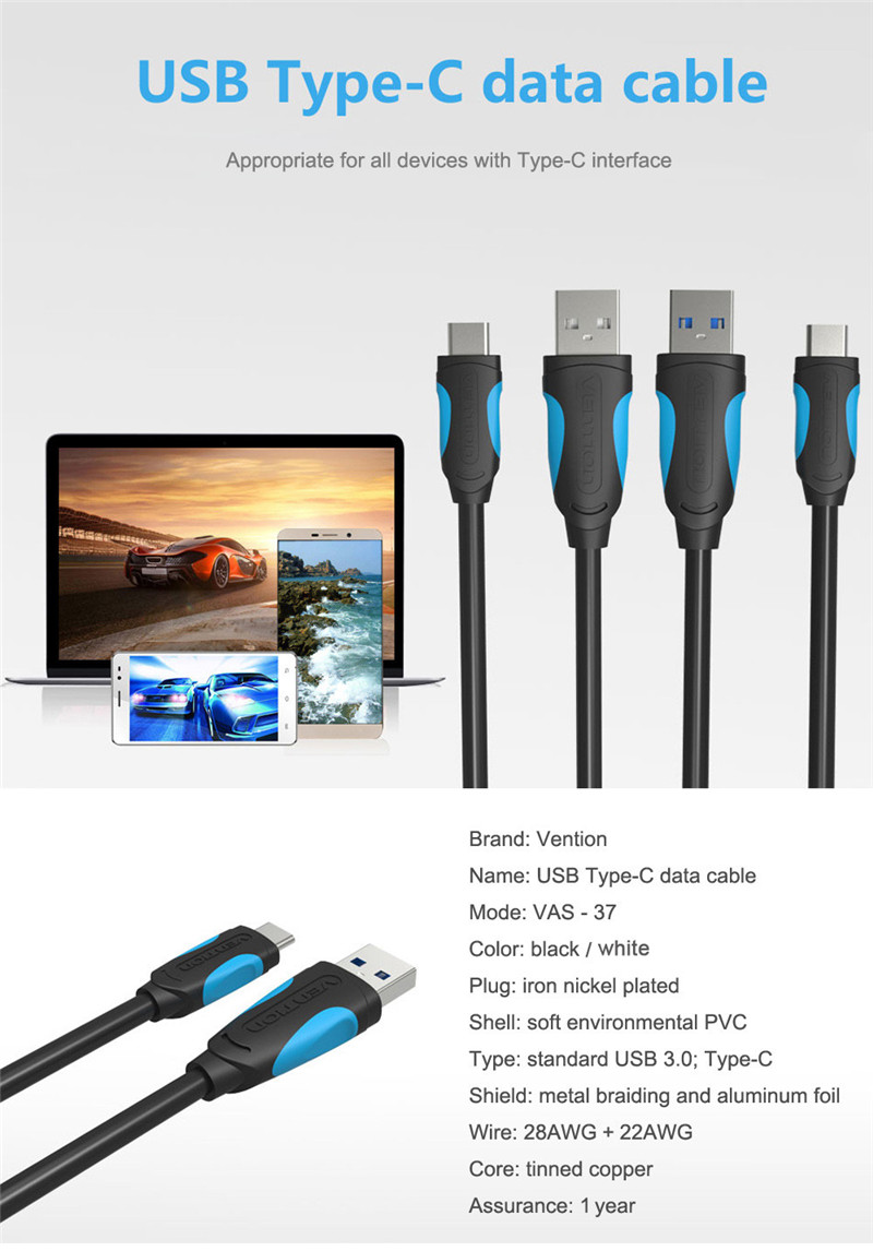 Vention A37 Type-C to USB 3.0 Charge Data Transfer Cable 1M