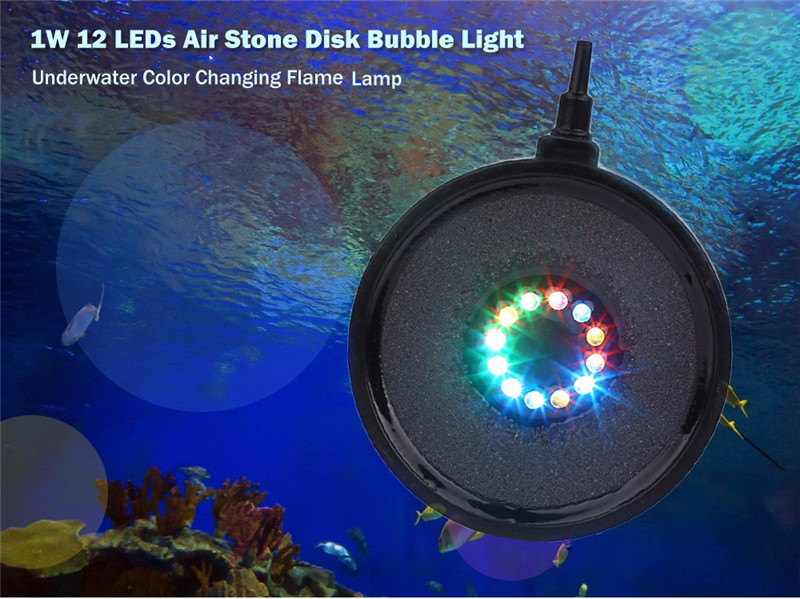 1W 12 LEDs air stone disk bubble light color changing flame lamp