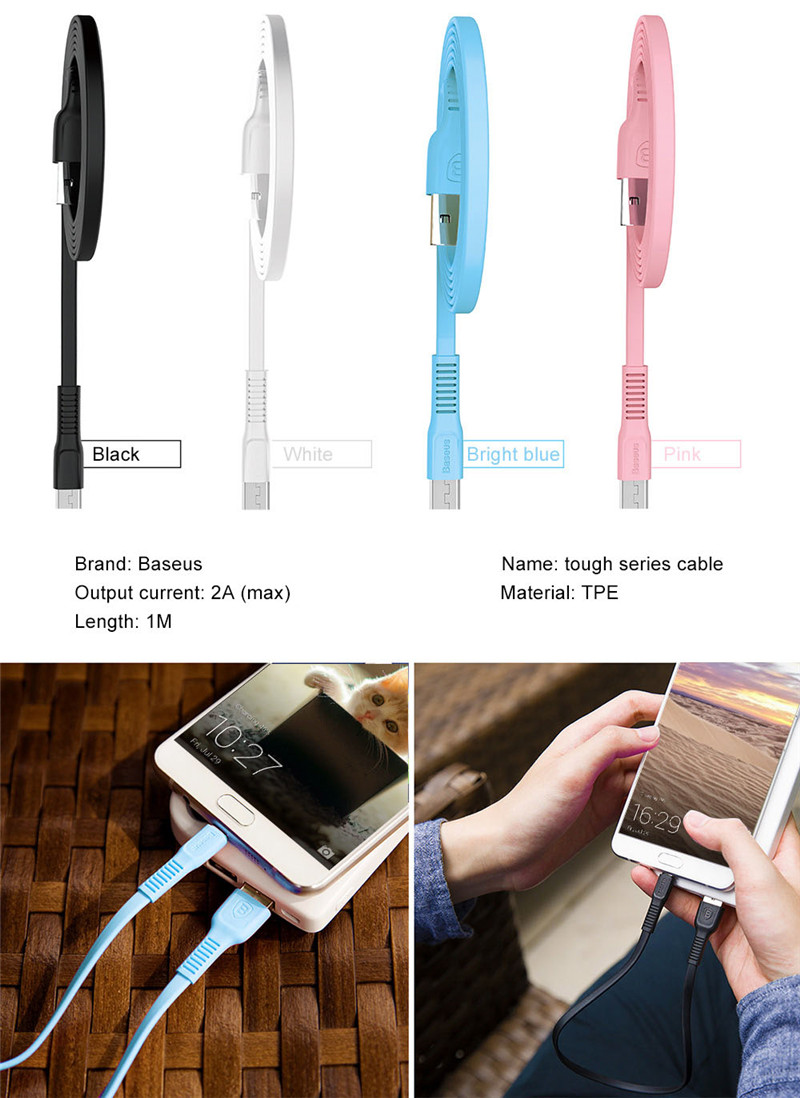 Baseus Micro USB Cable 2A Fast Charging Data Transmission Cord 1M