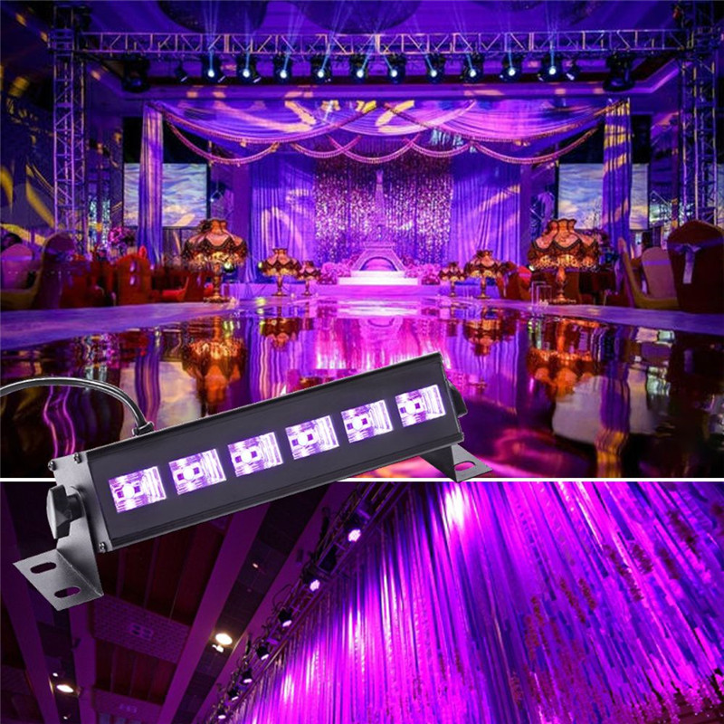 U King 6PCS auto led UV black wall wash light for stage lighting 18W