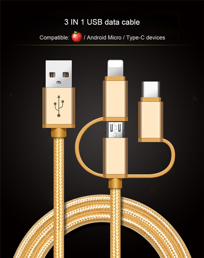 3 in 1 Nylon Braided USB Charger Cable iPhone Android Type C