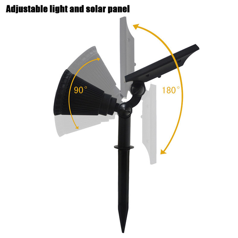 2PCS 4 LEDs Solar Powered Spotlight Outdoor Landscape Lighting