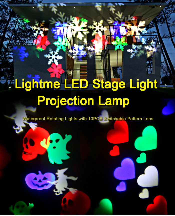 Lightme Multicolor LED Stage Light Projection Lamp Waterproof Rotating Lights