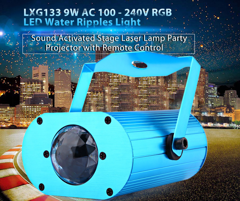 LXG133 9W sound activated RGB LED water ripples light stage laser Lamp