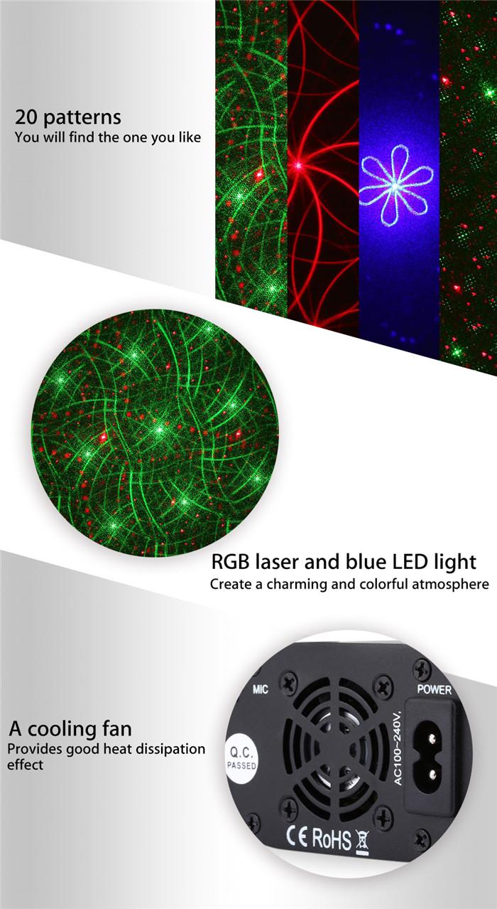 L6320RGB 20 patterns RGB laser light blue LED stage lamp
