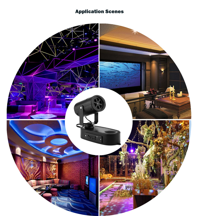 AC 250V 5W LED stage light halloween projector switchable pattern lens