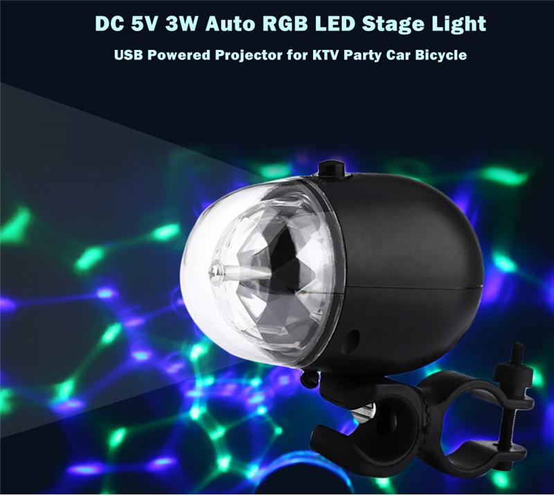 USB powered DC 5V 3W auto RGB LED stage light projector