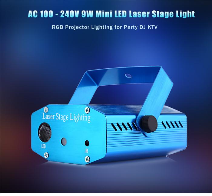 100 - 240V 9W Mini LED laser stage light RGB projector lighting for party DJ KTV