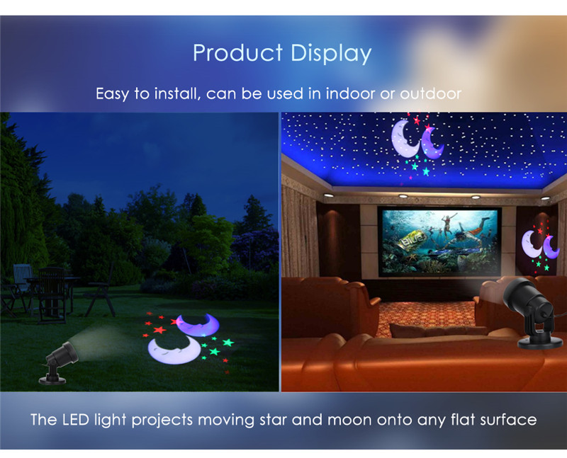 AC 110 - 240V 4W LED star moon light water resistant projector lamp