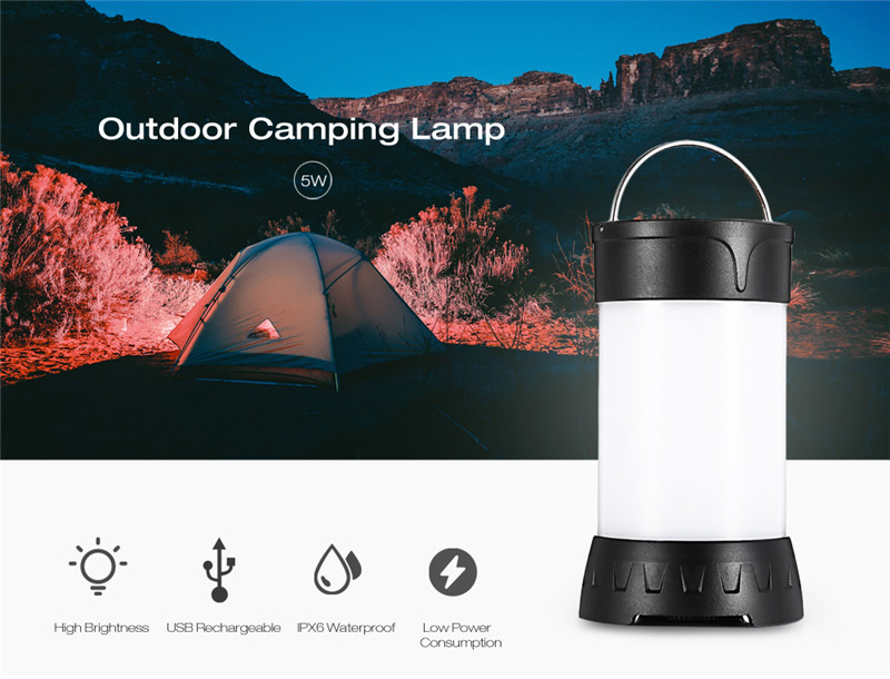 portable 5W camping lamp emergency bulb light outdoor hiking fishing caving