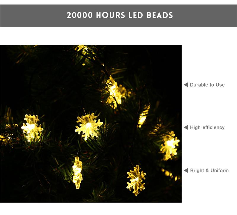 VCT - SLC - 037 20 LEDs Outdoor Snowflake Solar String Light