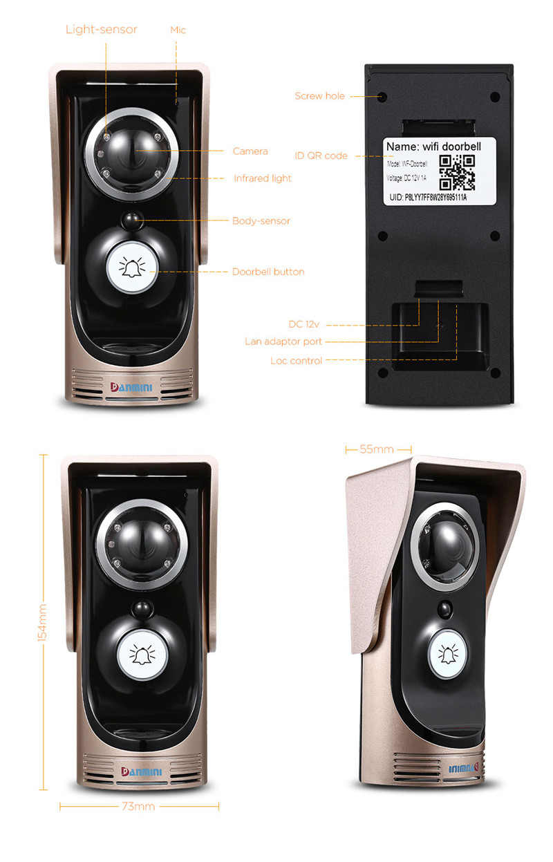 DANMINI 720P wifi video doorbell