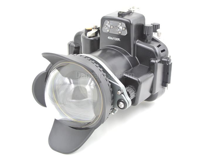 Fisheye dome port + M67 Adaptor connect Nikon D7100 Housing waterproof case