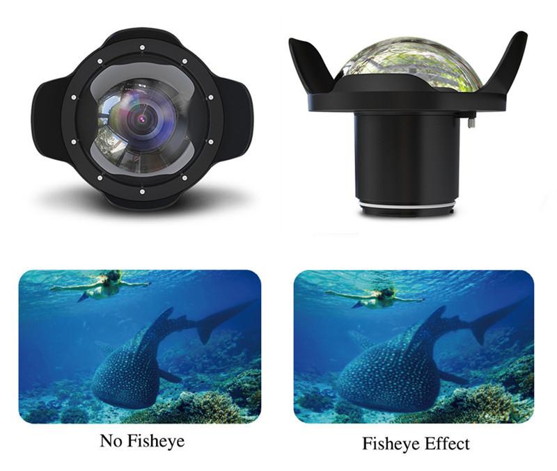 Nikon D750 waterproof case fisheye dome port