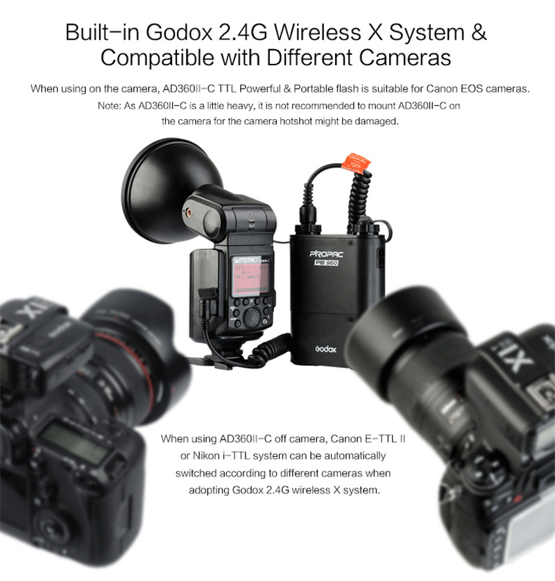 Godox AD360II-C TTL on/off-camera flash speedlite 2.4G wireless X system for canon
