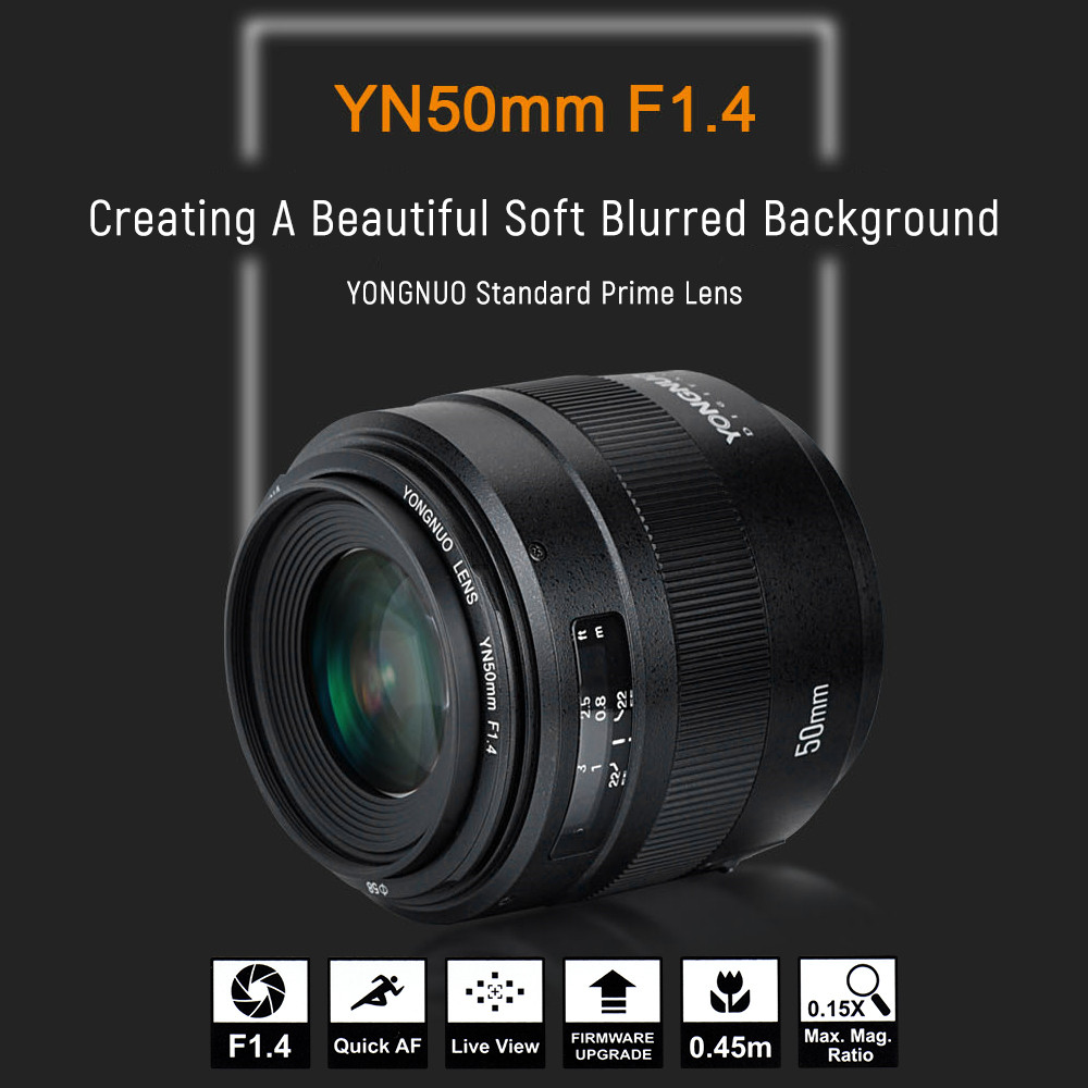 YONGNUO 50mm F1.4 large aperture auto focus lens for canon