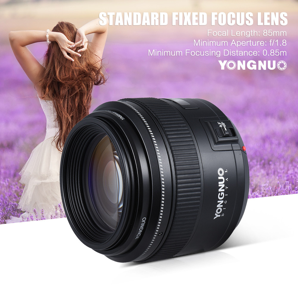 YongNuo 85mm f1.8 AF/MF standard medium telephoto prime fixed focal lens for Canon
