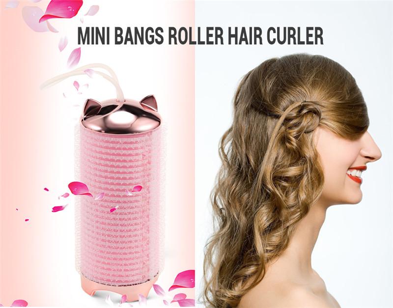 mini bangs USB rechargeable hair roller curler