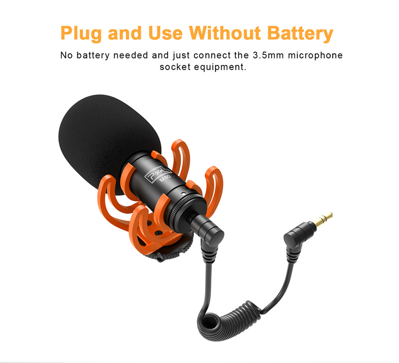 Pixel M80 universal video microphone iphone camera with shock mount